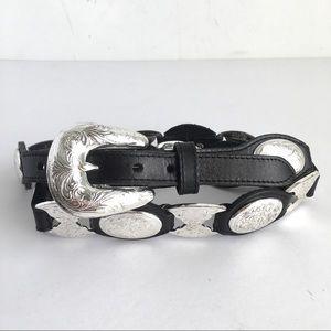 Tony Lama Silver Conch Belt Black Leather